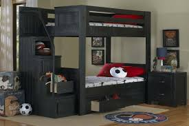 Black TwinOverTwin Bunk Bed With Staircase - Stairway bunk bed twin over full
