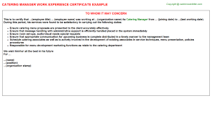 Driver Resume Sample Doc by Catering Manager Work Experience Certificate