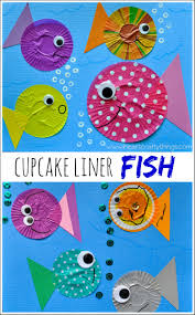fish kids craft out of cupcake liners seahorse crafts fish