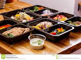 healthy food and diet concept restaurant dish delivery take away
