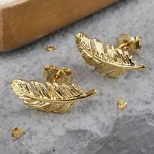 feather stud earrings gold feather earrings jewellery angel delicate