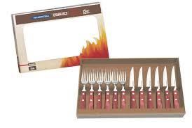 tramontina churrasco premium wood steak knife knives fork set of