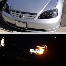 2001 honda civic tail lights xenon 01 03 honda civic angel eye halo led strip projector