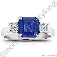 emerald gemstone rings images 3 51 ctw square emerald blue sapphire ring with asscher side jpg