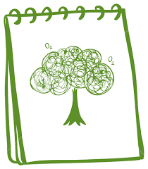 illustration of a green notebook with a drawing of a tree on a