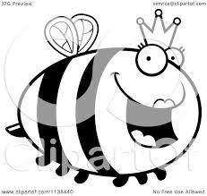 cartoon clipart of an outlined chubby queen bee black and white