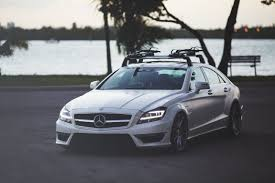 lowered mercedes custom mercedes cls with lowered suspension and a roof rack