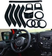 black chrome interior decoration cover trim kit for jeep wrangler