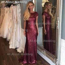 gold sequin bridesmaid dresses short sleeve floor length sheath