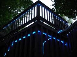 blue ropeled replaces neon for outdoor deck décor lighting