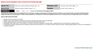 procurement and logistics officer cover letter u0026 resume