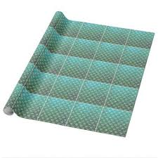 turquoise wrapping paper teal beige nouveau deco fan pattern wrapping paper