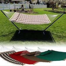 grand quilted two person hammock and stand set brown free