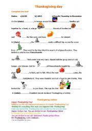 thanksgiving day worksheet by aniazak7