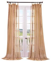 Sheer Embroidered Curtains Cleopatra Gold Embroidered Sheer Curtain Single Panel