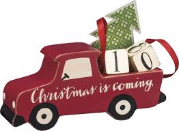 primitives by kathy wooden truck with christmas tree advent