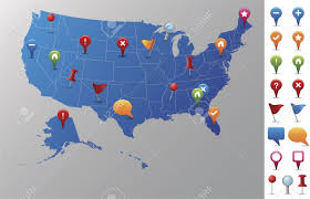 usa map gps usa map with gps icons every state is in its own shape royalty