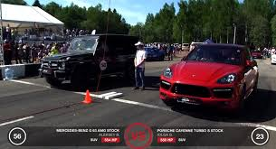 porsche cayenne turbo s horsepower drag race mercedes g63 amg vs porsche cayenne turbo s autoevolution