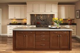shenandoah cabinetry island in mission cherry spice kitchen