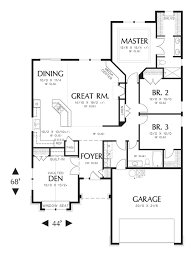 craftsman style house plan 3 beds 2 baths 1850 sq ft plan 48