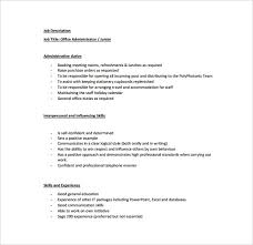office administrator job description templates 10 free sample