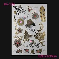 daisy hearts buttefly flowers roses temporary tattoos flowers gold