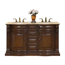 60 Bathroom Vanity Double Sink Shop Silkroad Exclusive Samantha American Walnut Undermount Double