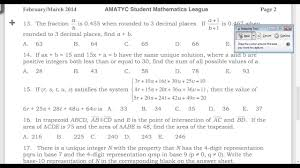 amatyc student math league sml spring 2014 solutions questions