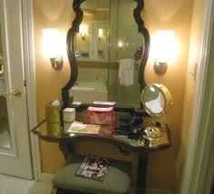 Makeup Vanity Table With Lights And Mirror Black Makeup Table With Lighted Mirror And Small Fabric Bench