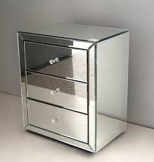 modern venetian mirrored bedside table with 3 drawers for small