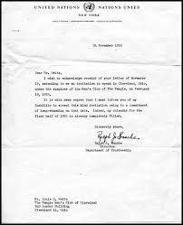 typed letter signed dated november 24 1952 ralph j bunche