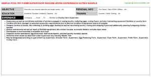 Welder Resume Sample by Poultry Farm Supervisor Resume Sample