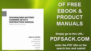 schumacher battery charger se 82 6 instruction manual video