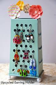 home made earrings earring holder from an upcycled cheese grater