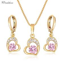 heart drop necklace images Buy cute gold color love heart with pink or white jpg