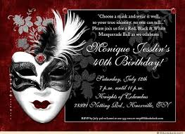 dramatic mask birthday invitation masquerade lovely style