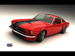 mustang classic classic mustang fastback by vizualtech red front angle 3