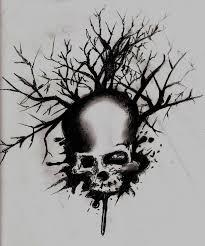 nice stencil of skull tree tattoo golfian com