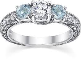 aquamarine and diamond ring antique style aquamarine and diamond engagement ring 14k white gold