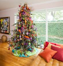 sumptuous burlap christmas tree skirt in living room contemporary