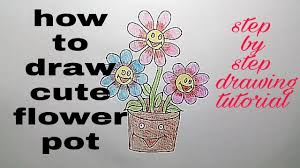 Cute Flower Pots by How To Draw Cute Flower Pot Drawing For Kids Step By Step