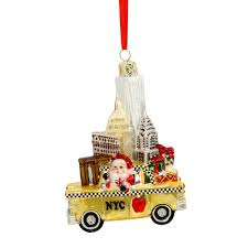 nyc landmarks taxi glass ornament chrysler building taxi and