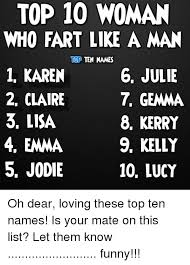 Top Ten Funniest Memes - top 10 woman who fart like a man top ten names 1 karen 6 julie 7