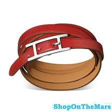 hermes bracelet leather images Hermes hapi iii red wrap around leather bracelet silver buckle jpg