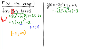 finding range of a quadratic by completing the square and writing in vertex form