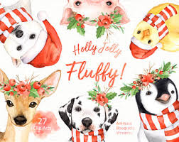 watercolor christmas clipart etsy
