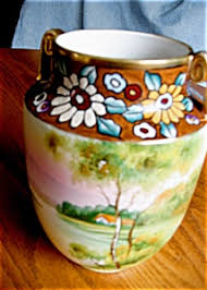 Nippon Hand Painted Vase Nippon Porcelain And Pottery Tias Com