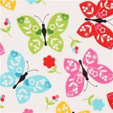 white flower butterfly flannel fabric by robert kaufman flannel