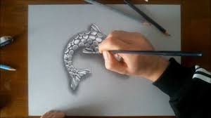 3d fish pencil sketch pic speed drawing silver fish how to draw
