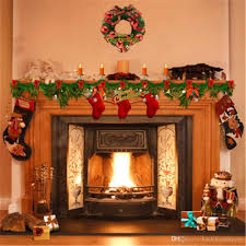 Fake Christmas Fireplace 2018 10x10ft Indoor Fireplace Background Vinyl Green Pine Wreath